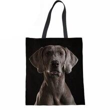 Women Handbags Shoulder Bag 3D Dog Weimaraner Print Reusable Folding Shopping Bag for Ladies Girls Canvas Beach Tote Bag цена 2017