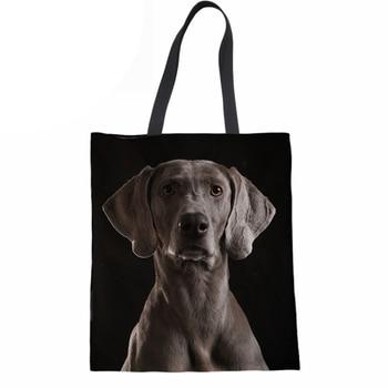 Women Handbags Shoulder Bag 3D Dog Weimaraner Print Reusable Folding Shopping Bag for Ladies Girls Canvas Beach Tote Bag rope canvas print beach bag