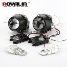 ФОТО royalin bi-led projector lens 2.5 3.0 inch mini head light 12v brightness for h1 h4 h7 car styling hi/lo beam universal retrofit