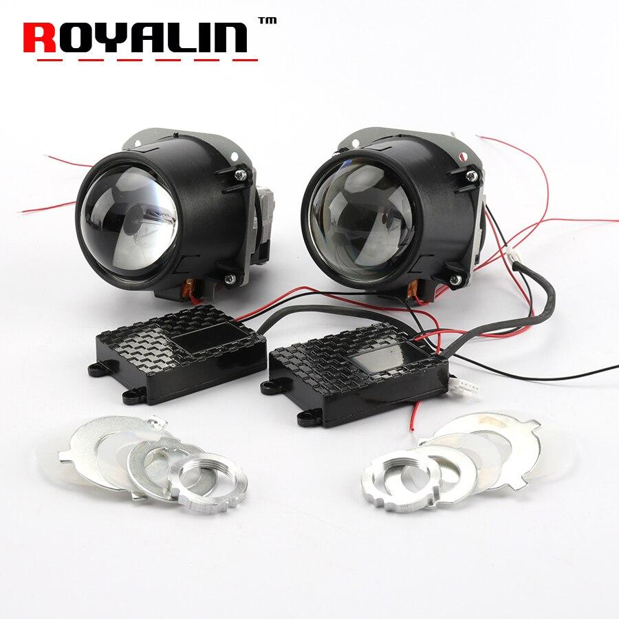 ROYALIN Bi-proyector LED 2,5 3,0 pulgadas Mini luz principal 12 V brillo para H1 H4 H7 Coche estilo Hi/Lo haz Universal Retrofit