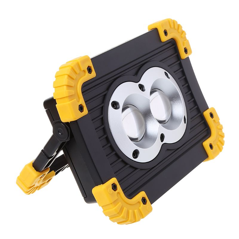Купить с кэшбэком LED Portable Work Lamps Waterproof Rechargeable Flood Light Camping Outdoor Tool 2 USB ports 4 Modes 180 degree rotating