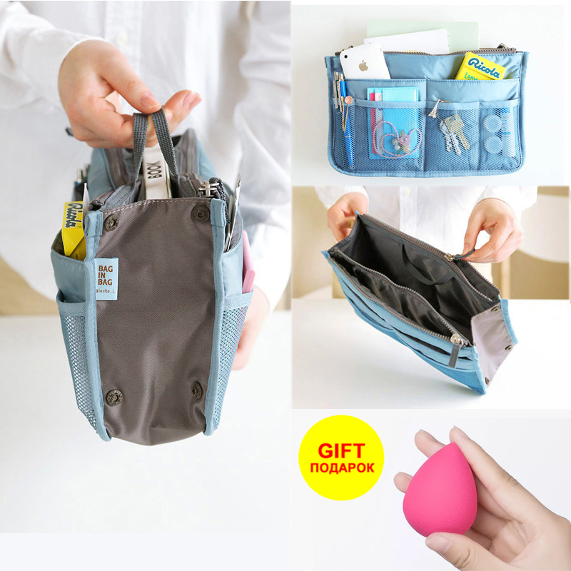 Promotion High Quality Cosmetic Bag Make Up Bag Insert Organizer Handbag Women/men Cosmetic Phone Multifunction Travel Bag