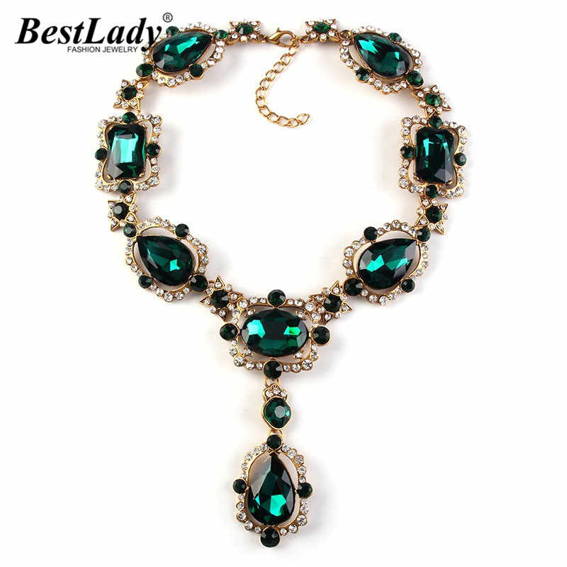 Best lady European Fashion Crystal Long Necklace & Pendants Vintage Luxury Gem Maxi Statement Brand Necklace Collier 2336
