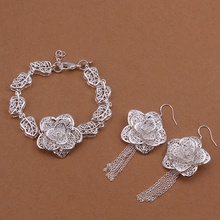 Silver plated noble elegant luxury popular fashion classic openwork flowers two piece sets hot selling silver jewelry S443