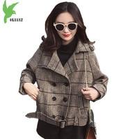 Short Coat for Womens 2018 Spring Autumn Plaid Woolen Outerwear Fashion Belt Slim Student Short Jacket Female Casual Tops 2086