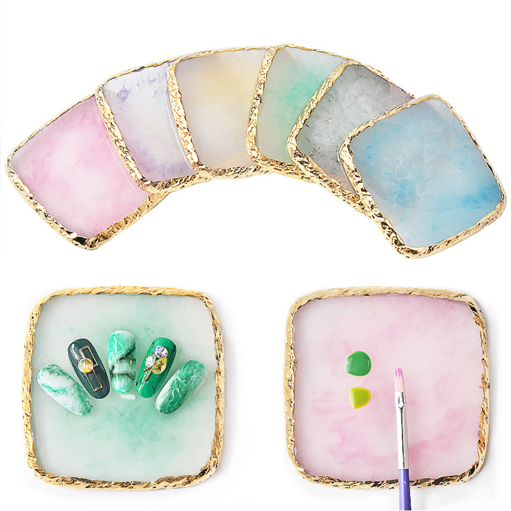 New 1Pcs Nail Square Palette Resin Paint Shelf Manicure Tool Practice Hand Board Display Palettes Fake Pallet Nail Art Tools