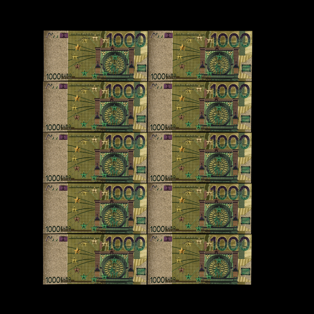Selling10pcs/lot Colored <font><b>Euro</b></font> <font><b>1000</b></font> EUR <font><b>Banknotes</b></font> In 24K Gold EU Fake Money Exquisite Craft Collection Gifts image