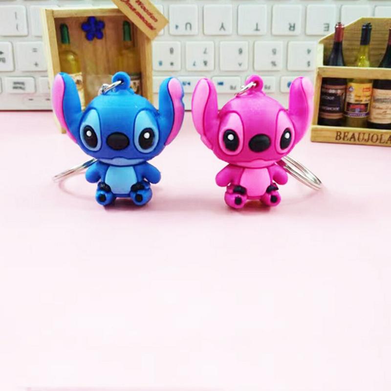 2 pçs/set venda Quente Dos Desenhos Animados do Ponto PVC Dupla Face Chaveiro Mini Figura Coleção Toy Key Ring Pingentes Encantos