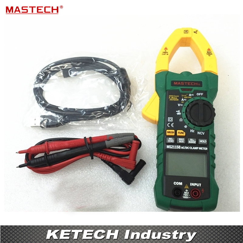 True RMS Digital Clamp Meter DC/AC Voltage Current Ohm Capacitance Frequency Tester with USB Data Acquisition MASTECH MS2115B mastech ms2115b true rms digital clamp meter multimeter dc ac voltage current ohm capacitance frequency tester with usb