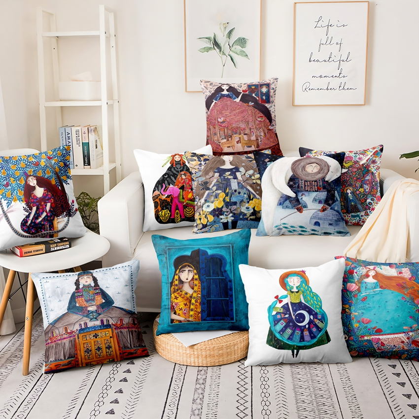 Nordic Watercolor Girl Illustration Pillowcase Art Figure Thin Linen Cushion Decorative Pillows Home Decor Sofa Throw Pillow