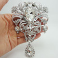 "5.04"" Bride Huge Flower Drop Pendant Brooch Pin Clear Rhinestone Crystal Luxury Wedding Bride Brooch"