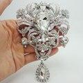 """5.04 """" flor de noiva enorme broche Pin claro strass cristal de casamento de luxo broche"""