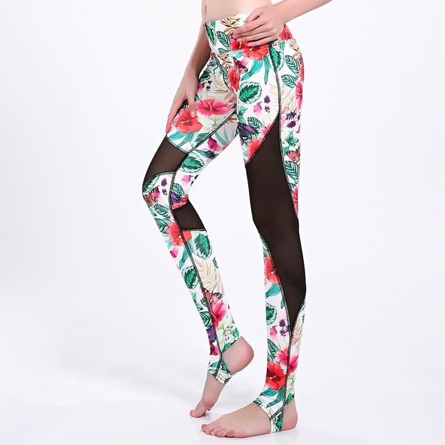 Rouge vert fleurs floral Plus La taille XXXL mesh panneau De Yoga leggings  Multicolore Sport séchage cfa565c20d3