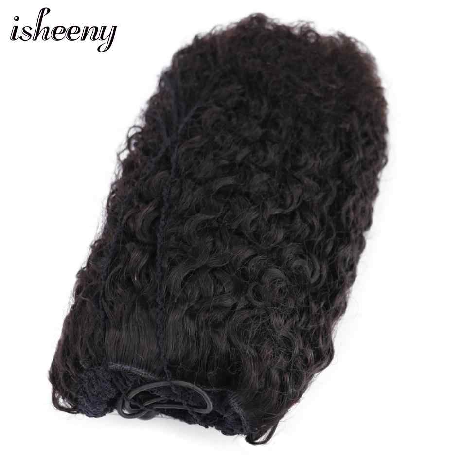 """Isheeny Afro Kinky Curly Ponytail Extensions Clip-Ins 8""""-18"""" Natural Black Brazilian Remy Human Hair Adjustable Pony Tail"""