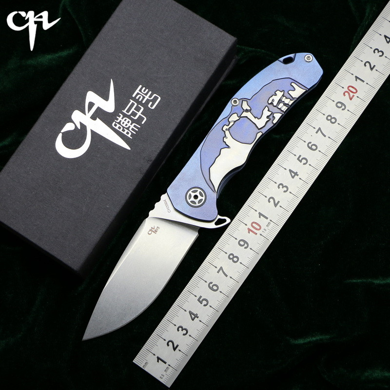 CH3504 Flipper folding knife S35VN blade ball bearing TC4 titanium Skull pattern handle hunting camping fruit