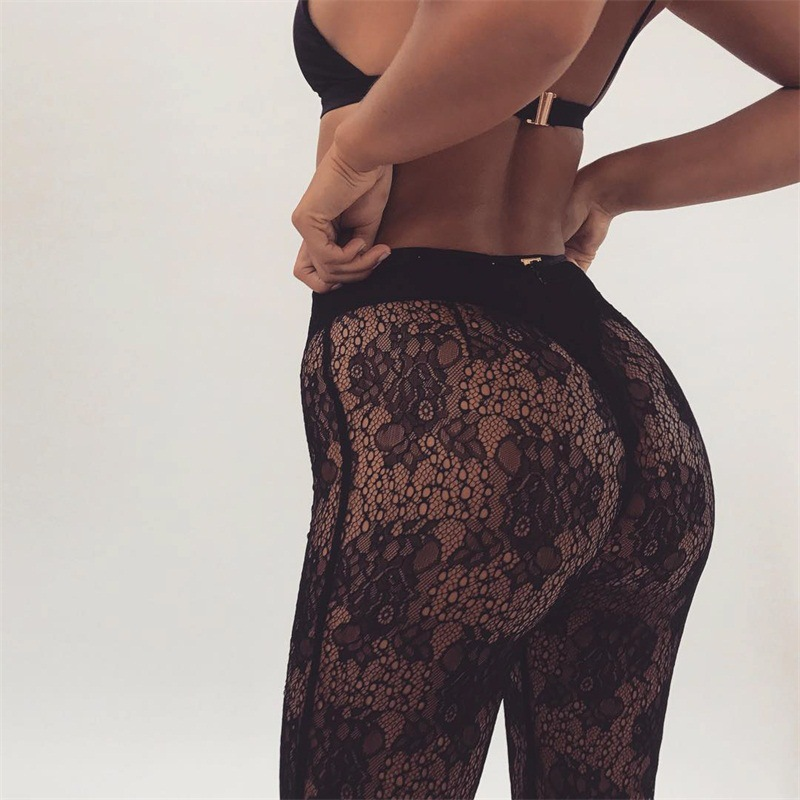 Sexy Womens See Through Long   Pants   Lace   Wide     Leg     Pants   Flare   Pants   Women Transparent Trousers Casual Holiday Beach   Pants