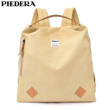 PHEDERA Fashion Women Backpack High Quality Canvas Female Shoulder Bags Beige Pink Teenager Travel Rucksack 2018 New