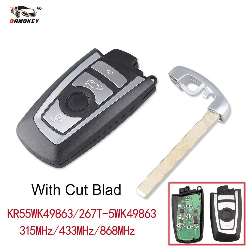 Bmw Car Key Cutting: Dandkey Cut/Uncut 4 Buttons Smart Keyless Remote Key Car