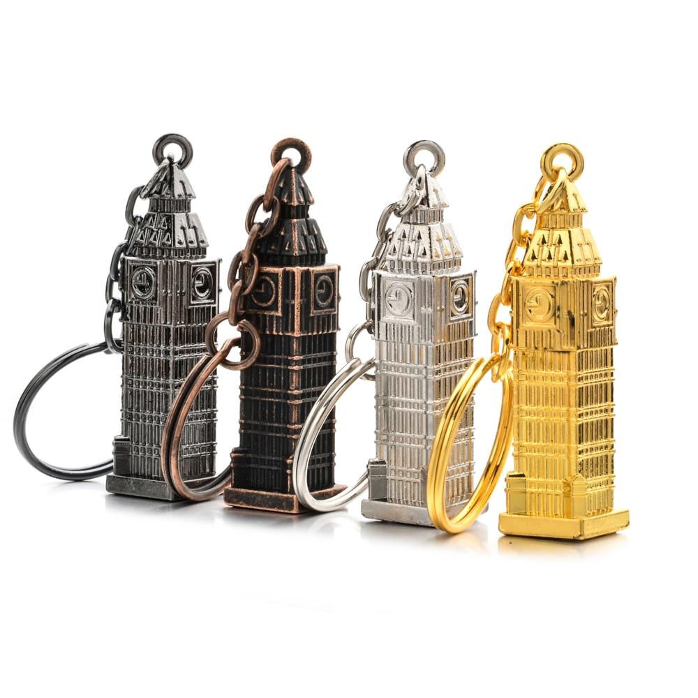 London Golden Clock Model Small MINI Keychain Souvenir Gift 3D Metal London UK British Souvenir Big Ben Key Chain For Festival