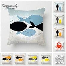 Fuwatacchi Simple Marine Animal Cushion Cover Fish Crab Octopus Painted Pillow Decorative Home Sofa Car Pillowcases 2019