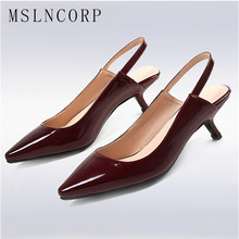 цена на Size 34-44 Patent leather Summer Women Pointed Toe Sandals Shoes Fashion  Woman Thin heel party dress shoes Bride wedding Pumps