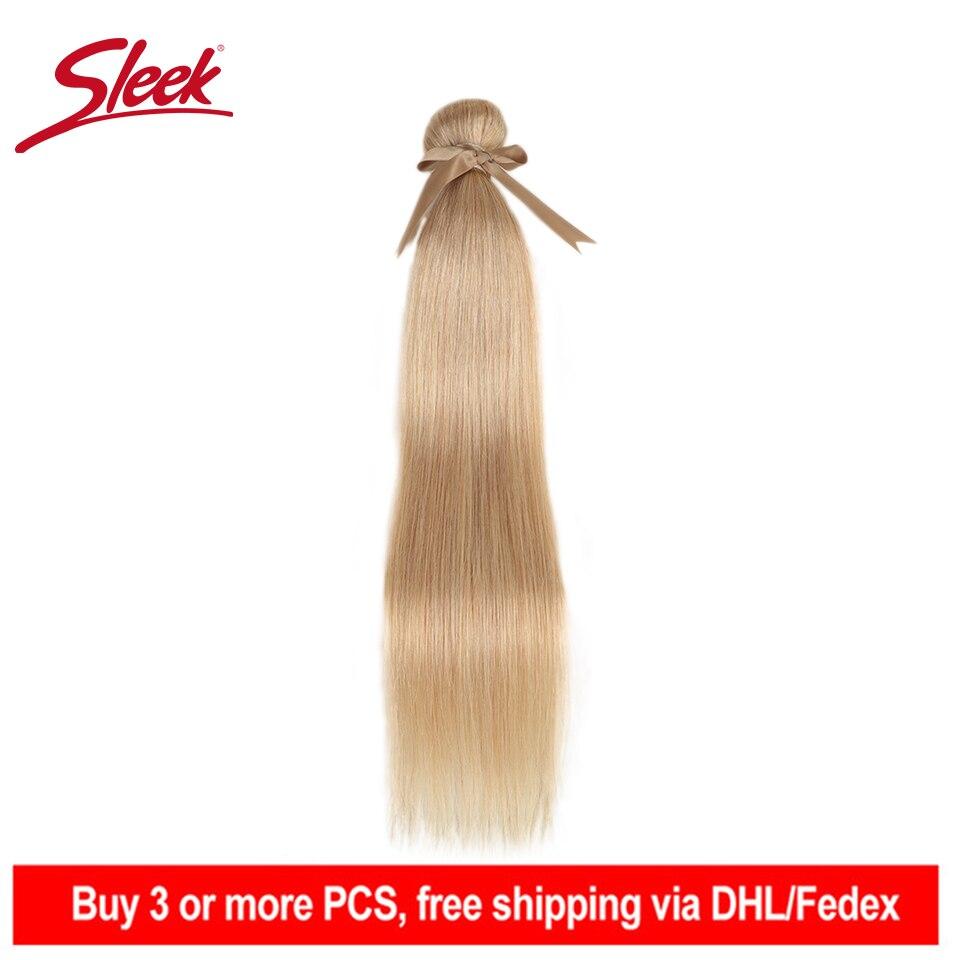 Sleek Remy Brazilian Hair Weave Bundles 10-26 Inches Straight Human Hair Extension Honey Blonde #P27/16/613 Hair Weave Bundles