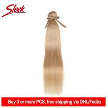 Гладкие бразильские волосы Remy, волнистпряди 10-26 дюймов, прямые человеческие волосы для наращивания, медовая блондинка # P27/16/613, пупряди волос...