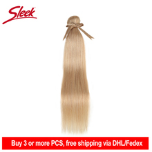 Sleek Remy Brazilian Hair Weave Bundles 10 26 Inches Straight Human Hair Extension Honey Blonde #P27/16/613 Hair Weave Bundles