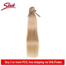 Sleek cabelo brasileiro liso, extensão de cabelo humano liso com 10 26 polegadas, mel, loiro # p27/16/613 pacotes de tecelagem de cabelo