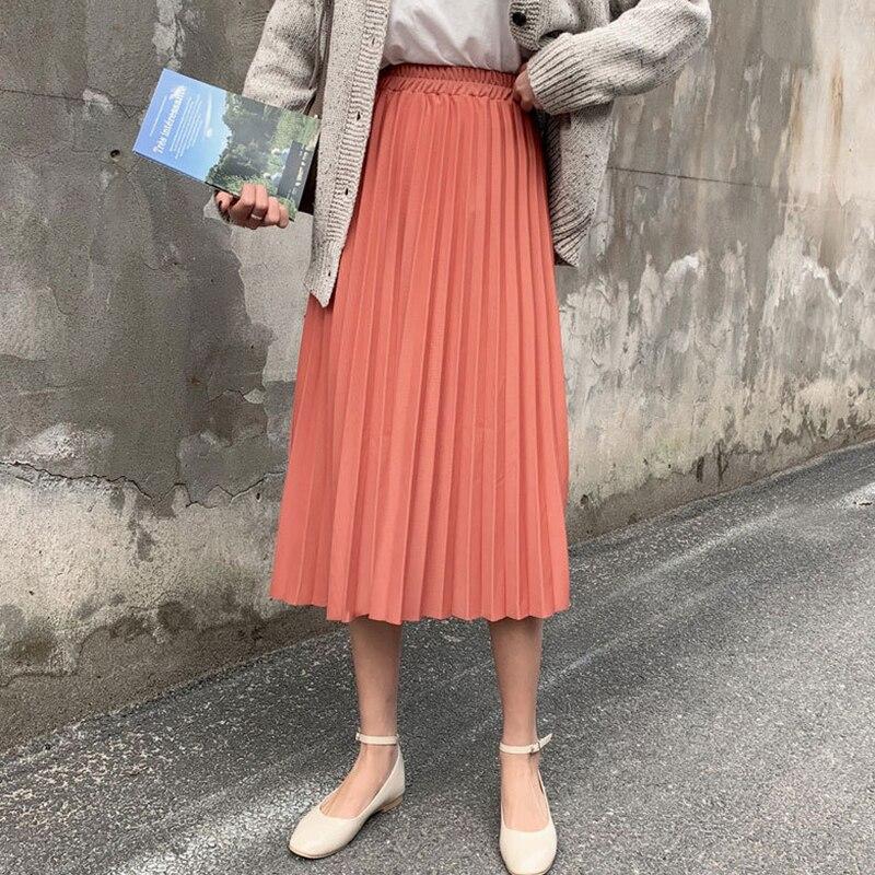 Surmiitro Elegant Solid Midi Pleated Skirt Women 2019 Autumn Winter Ladies Korean High Waist A-line School Long Skirt Female