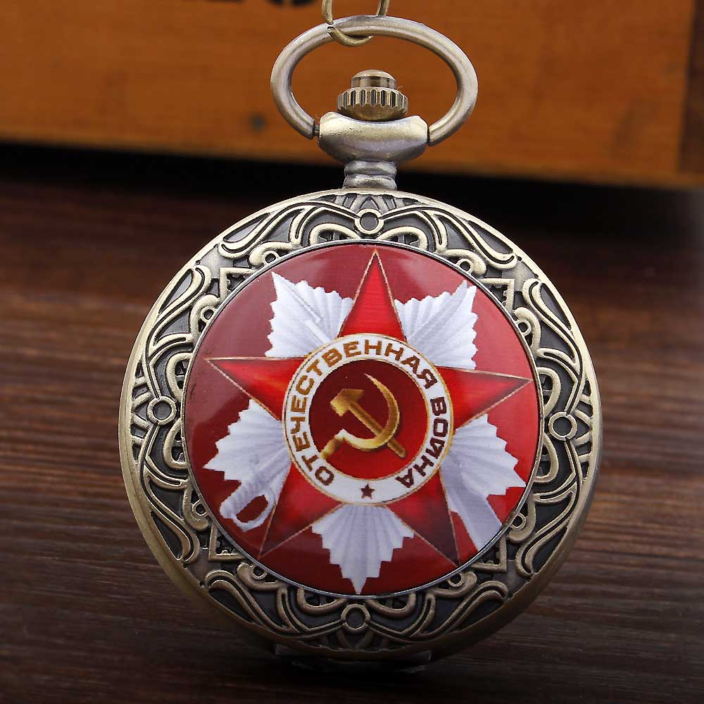 2016 Vintage Red Star Colorful New Soviet Sickle Hammer Style Quartz Pocket Watch Men Women Pendant FOB Chain Pocket Watch russian vingtage silver soviet bolshevik mechanical fob pocket watch mens military pendant watch chain free ship