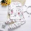 2017 новый комплект одежды младенца мальчики девочки с длинным рукавом хлопок одежда набор Рисунок футболка + брюки 2 шт. костюм одежда для новорожденных набор