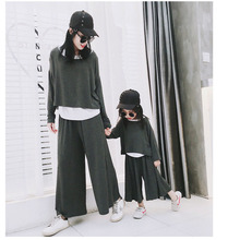 Family Matching Clothes Set Mother Daughter Modal Cotton 3Pcs Spring Look Kids Causal Sport Suit Korea 2019