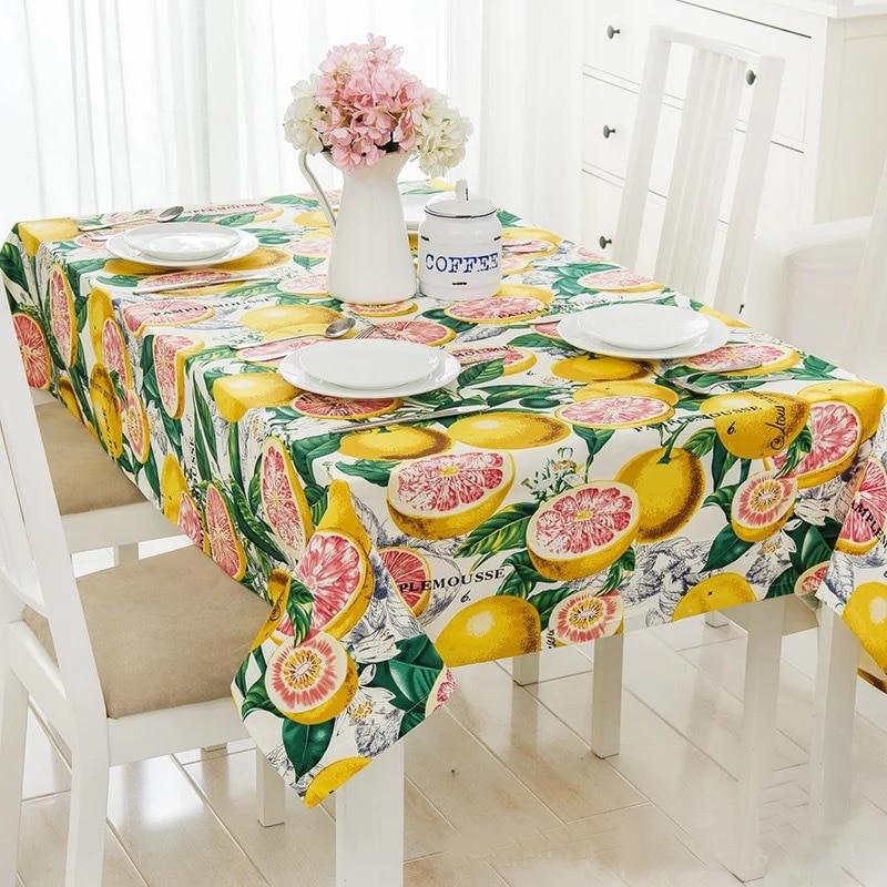 Lemon Fruit Tablecloths Thick Cotton Canvas Tablecloth/table Cover Summer  Fruit Theme Desk Cover Home Decorative Tablecloths In Tablecloths From Home  ...