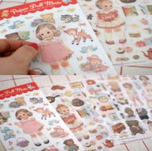 6sheets/pack Kawaii Doll  Girl Paper & PVC Stickers Decoration DIY Diary Note Label Multifunction Sticker For Scrapbooking