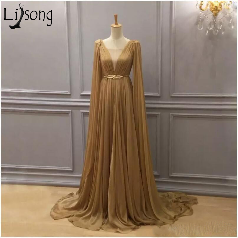 2019 Gold Chiffon Arabic Formal Dress Evening Wear Plunging Neck Dubai A Line Chiffon Pleated Caped Floor Length Prom Dresses