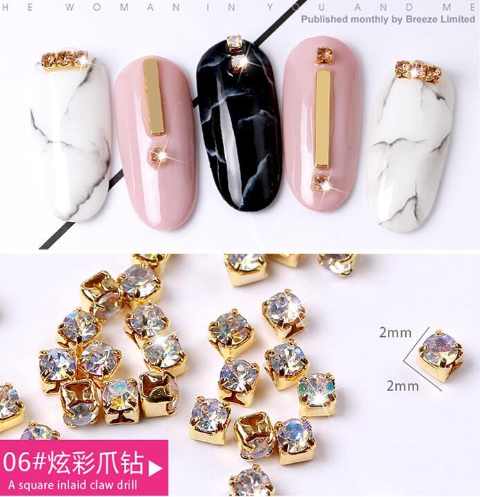 1 Box 4-10mm Größe Gold Nagel Nieten Kupfer Nagel-nieten Gemischt 3d Nail Art Dekoration Diy Maniküre Schmuck Silber Nägel Zubehör