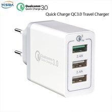 EU Plug Quick Charge 3.0 3USB Output, phone Fast Travel adapter/Compatible Russia Ukraine Germany Poland France Spain etc.(China)