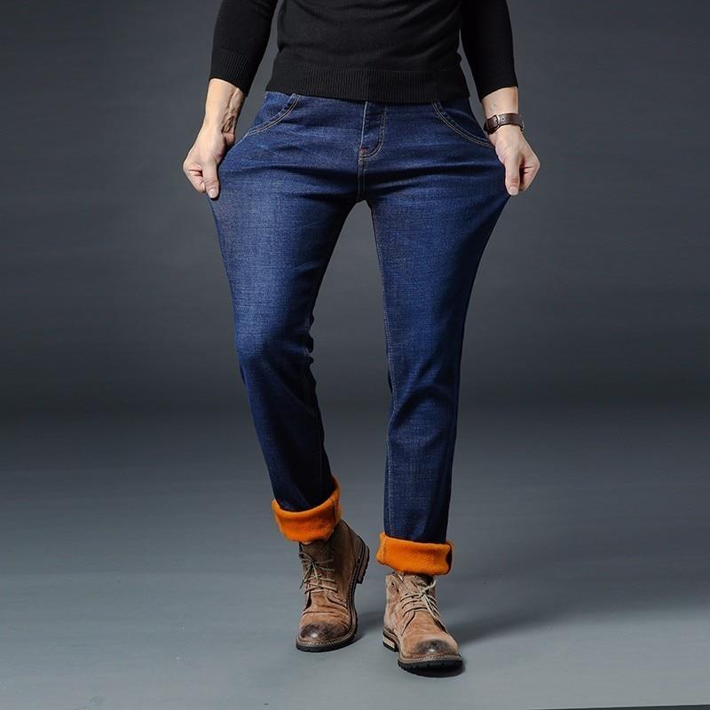 Image 4 - AIRGRACIAS 2019 Winter New Men Warm Jeans Famous Brand Thick  Jeans Soft Thicken Fleece Men Jeans Black/blue Long Trouser 28 40Jeans