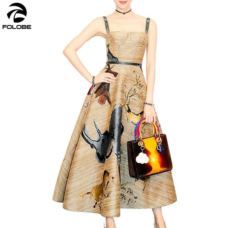 FOLOBE styliste 2019 été Vintage Graffiti impression Spaghetti sangle grande balançoire longue robe de soirée robe de piste Vestido