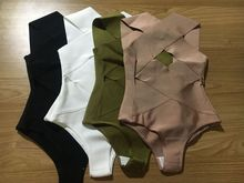 high quality best sellers sexy dusty pink olive  black white cross over bandage bodysuits wholesale
