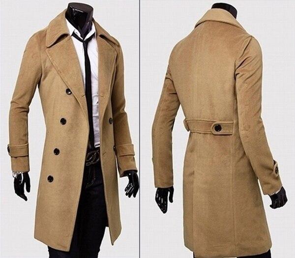 f0aa04945a3 HEFLASHOR 2018 Fashion Winter Autumn Men Blends Coat Long Slim Fit Overcoat  Jacket Wind Coats Warm