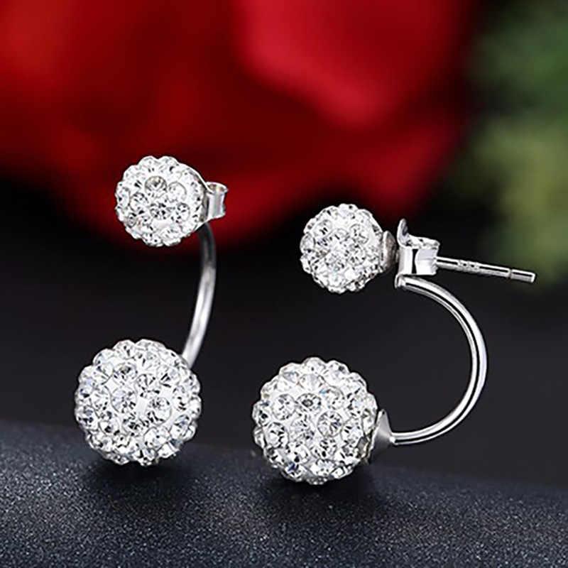 Nueva llegada 925 pendientes de plata de ley para mujer cristal brillante a la moda pendientes Shambhala de tuerca para mujer joyería regalo de cumpleaños