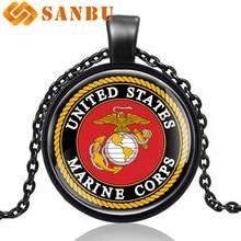 492434543c5 Clássico Da Moda Estados Unidos corpo de Fuzileiros navais Soldado Prata  Colar Pingente Melhor Presente para Os Homens Do Vintag.