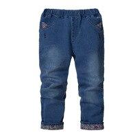 Дети джинсы девушки Корейский случайные брюки Весна и Осень брюки вышитые цветы Цветочные пастырское стиль детская одежда