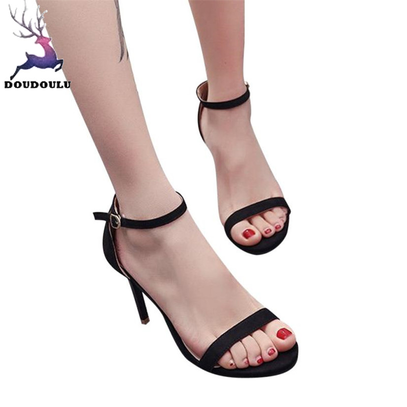Shoes Woman Block Open-Toe High-Heels Ankle Fashion Summer Mujer Zapatos Party
