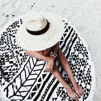 2017 Grande Microfibra Impressa Reactiva Round Toalha de Praia Com Borla Guardanapo De Plage Toalla Playa Toalha de Banho Praia de Natação 150 cm