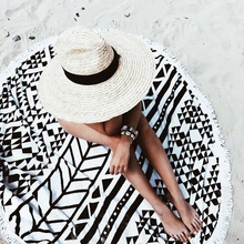 2017 Большой Микрофибры Реактивной Печатных Круглый Пляжное Полотенце С Кисточкой Салфетку Plage De Toalla Playa Ванна Пляж Плавать Полотенце 150 см