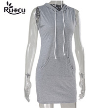 Ruoru Cotton Sleeveless Hoodie Dress Slimming Solid Gray Striped Black Casual Dress large Size Summer Tshirt Dress with Pockets