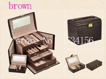 luxury leather  PU brown gift jewelry box